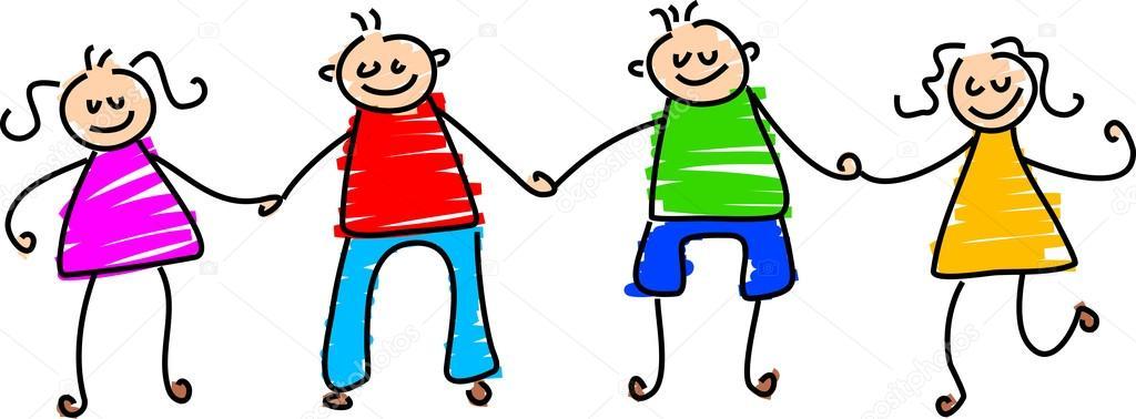 Niños felices caricaturas — Vector stock © Prawny #64294119