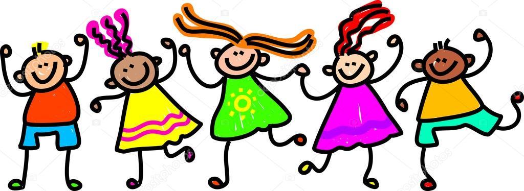 Niños felices caricaturas — Vector stock © Prawny #64294851