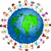 Kids around world globe — Stock Photo