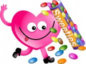 Heart character holding sweets — Stock Photo