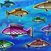 Underwater scene with whimsical fish. — Stock Photo