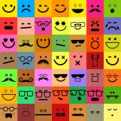 Square shaped emoticon faces — Stock Vector