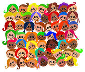 Kids cartoon faces. — Stock Vector