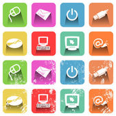 Grunge computer and technology icons. — Stock Vector