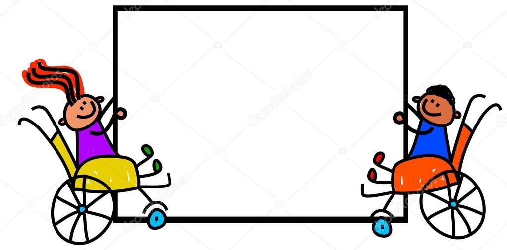 Discapacitados Niños Con Cartel En Blanco