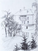 House, pencil drawing on canvas — Zdjęcie stockowe