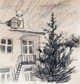 House, pencil drawing — Stock Photo