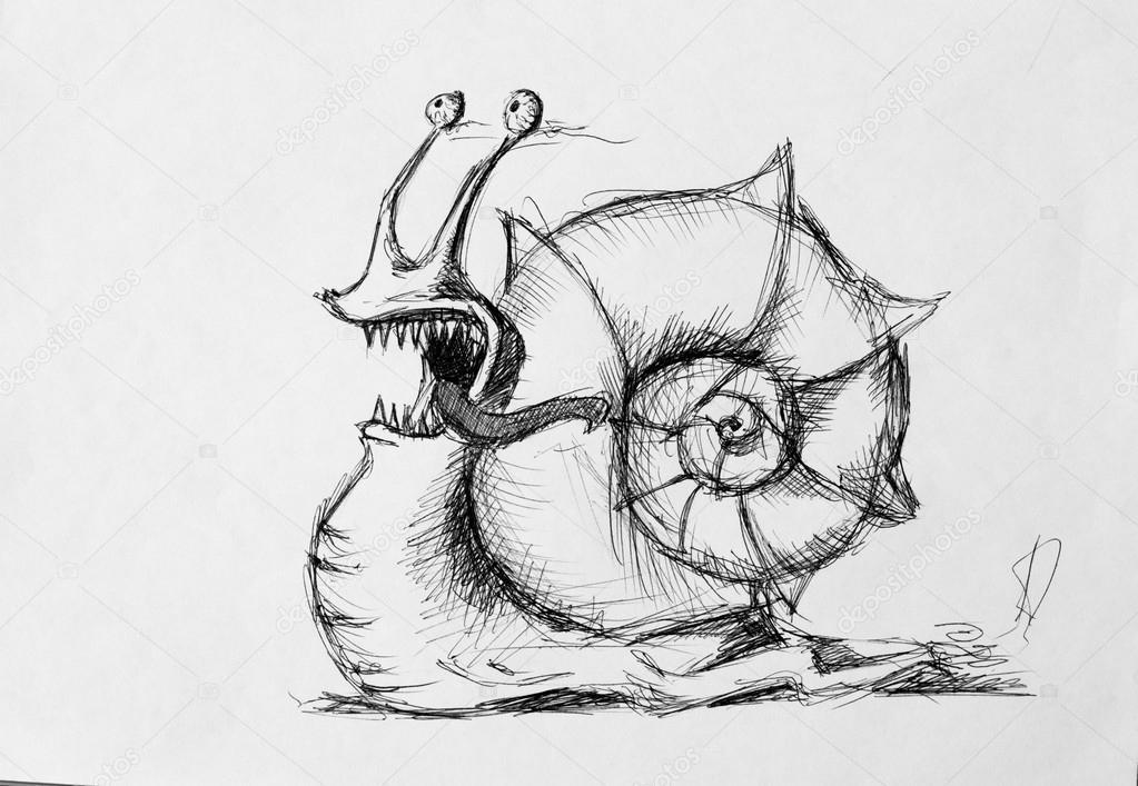 蜗牛,铅笔画素描 — 图库照片08kolodochka