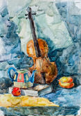 Violin, watercolor drawing — Foto Stock