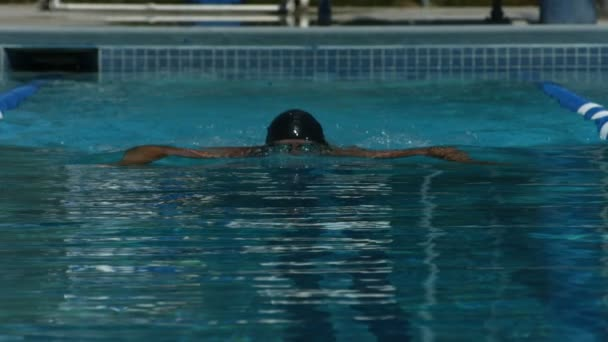 Swimmer training in the pool — Vídeo de stock