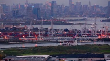New York docks at dusk — Stock Video