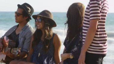 Jóvenes en la playa — Vídeo de Stock