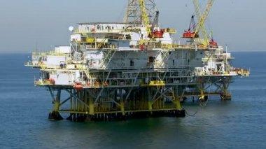 Shore oil platforms — Stock Video
