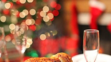 Christmas table setting with turkey — Stock Video