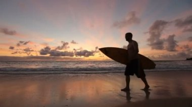 Surfer walking along beach — Stock Video