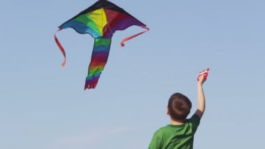 Boy flying kite — Stock Video