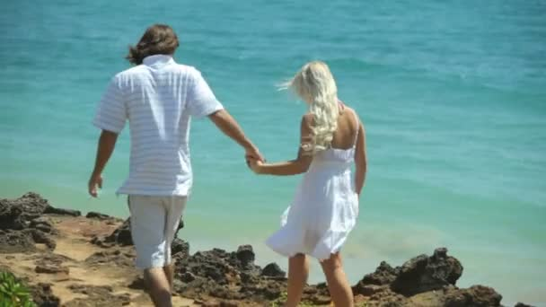 Couple stand on rocks — Vidéo