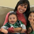 Portrait of mother and two children — Stock Video #65551525