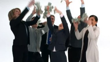 Businesspeople throw money — Stock Video