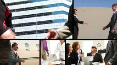 Montage of businesspeople handshake — Stock Video
