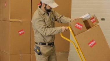 Delivery man delivers packages — Stock Video