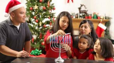Family together lighting Menorah — Stock Video