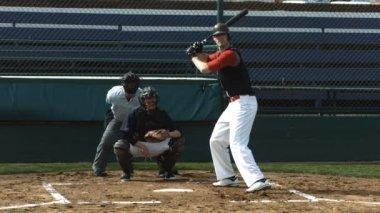 Baseball player hitting ball — Stock Video