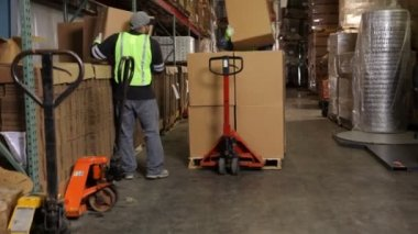Delivery men moving packages — Stock Video