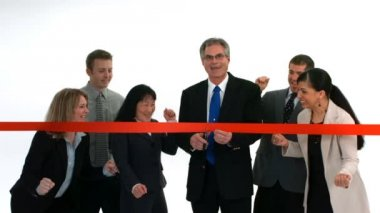 People cut ribbon and celebrate — Stock Video