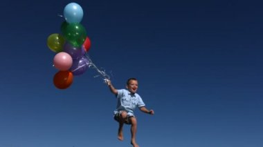 Boy with balloons — Stock Video
