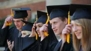 Graduates move celebrate — Stock Video