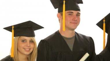 Three graduating students — Stock Video