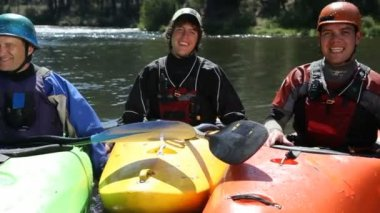 Portrait of three kayakers — Stock Video