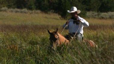 Cowboy rides horse — Stock Video
