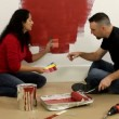 Couple painting wall — Stock Video #65611001