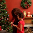 Family decorating Christmas tree — Stock Video #65613493