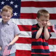 Boys waving flags — Stock Video #65617661