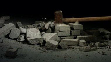 Hammer hitting bricks — Stock Video