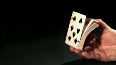 Card dealer shuffling cards — Stock Video