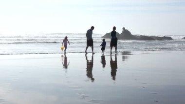 Familie spelen op strand — Stockvideo