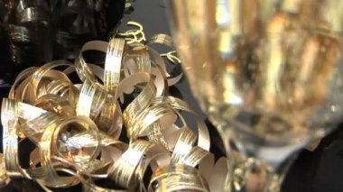 Cork, champagne and ribbons — Stock Video