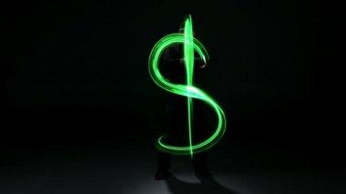 Man painting dollar sign — Stock Video
