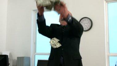 Businessman throwing money — Stock Video