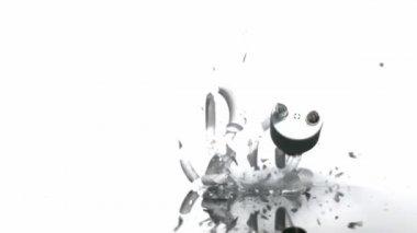 Breaking compact flourescent lightbulb — Stock Video