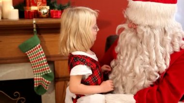 Santa Claus and young girl — Stock Video