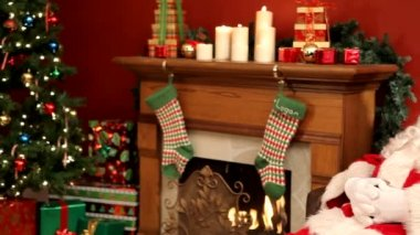 Santa Claus sleeping in chair — Stock Video