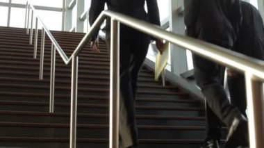 Businesspeople walking on stairs — Stock Video