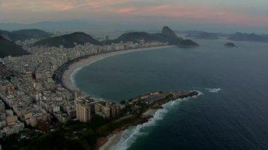 Copacabana Beach at sunset — Stock Video