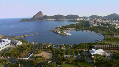 Guanabara Bay and Sugarloaf Mountain — Stok video