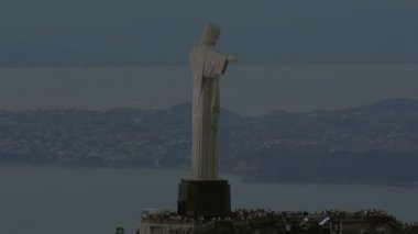 Christ the Redeemer statue at dusk — Stock Video